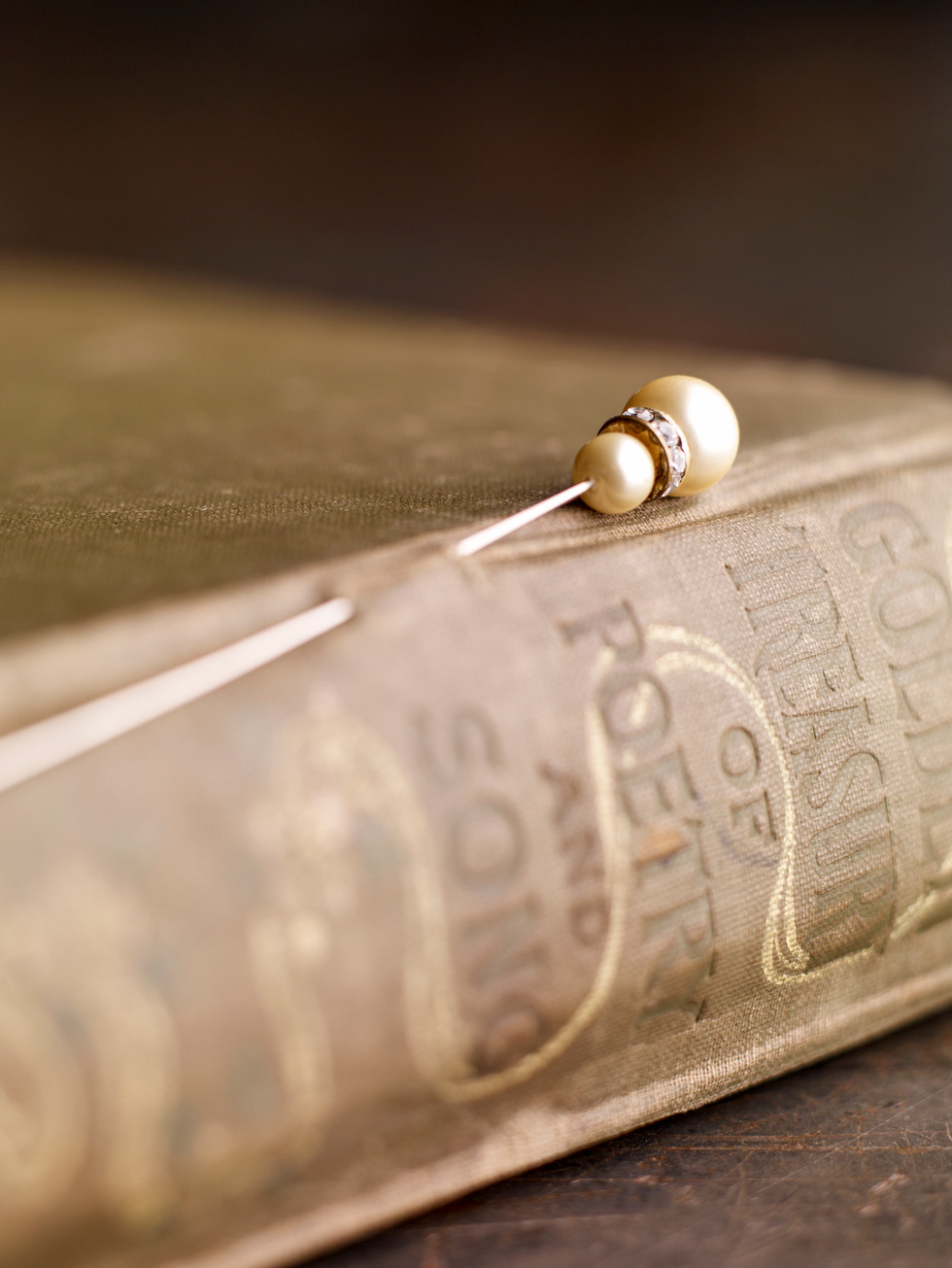 Antique Hat Pin On Book