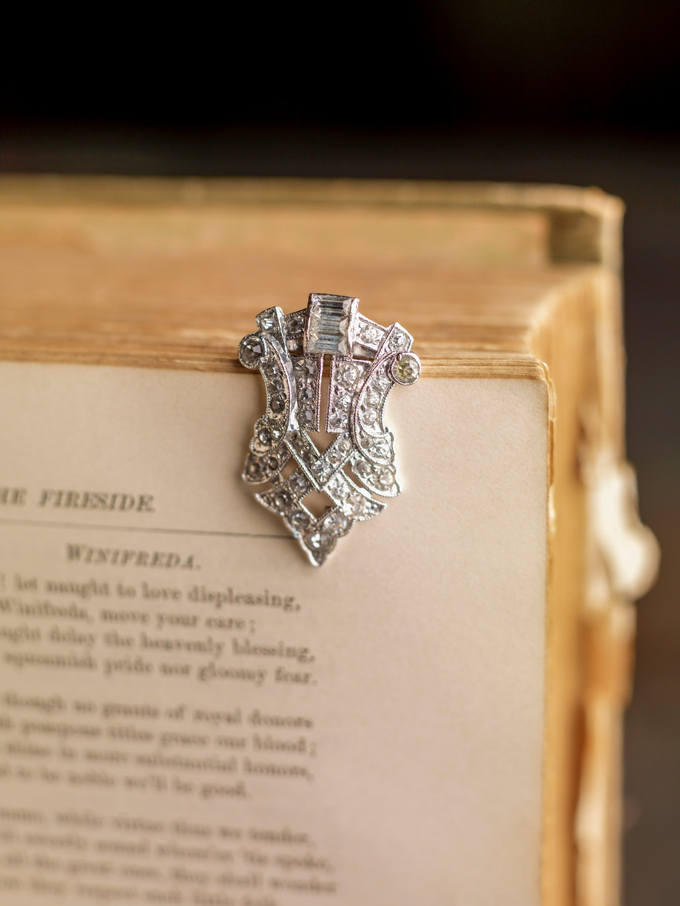 Antique Scarf Clip On Book