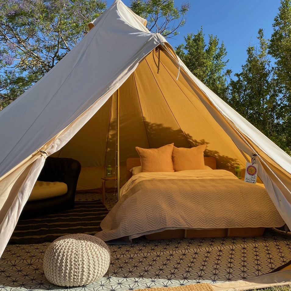 5m Glamping Bell Tent with Timber Bed and Memory Foam Mattress - Return to Rio 2019