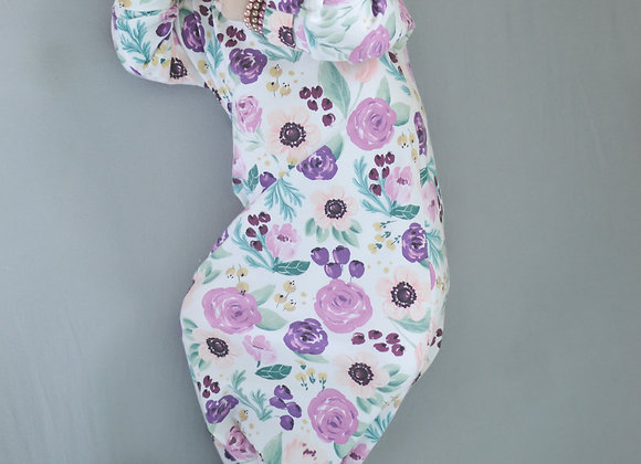 Plum Floral Baby Gown
