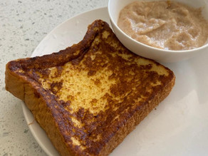 healthy french toast served with waffle sauce