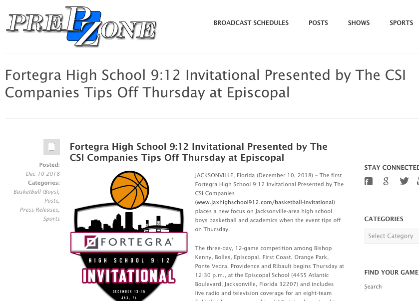 Fortegra High School 9:12 Invitational Presented by The CSI Companies Tips Off Thursday at Episcopal