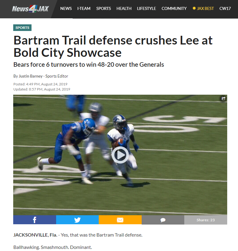 Bartram Trail defense crushes Lee at Bold City Showcase
