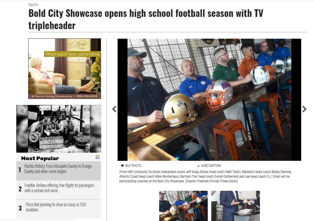 Bold City Showcase opens high school football season with TV tripleheader
