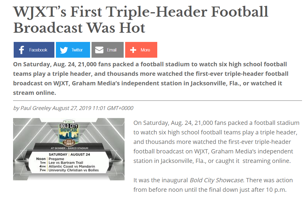 WJXT's First Triple-Header Football Broadcast Was Hot
