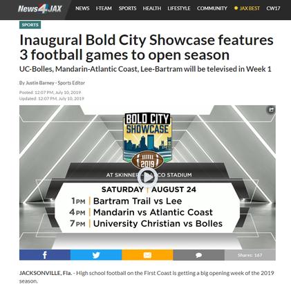 Inaugural Bold City Showcase features 3 football games to open season