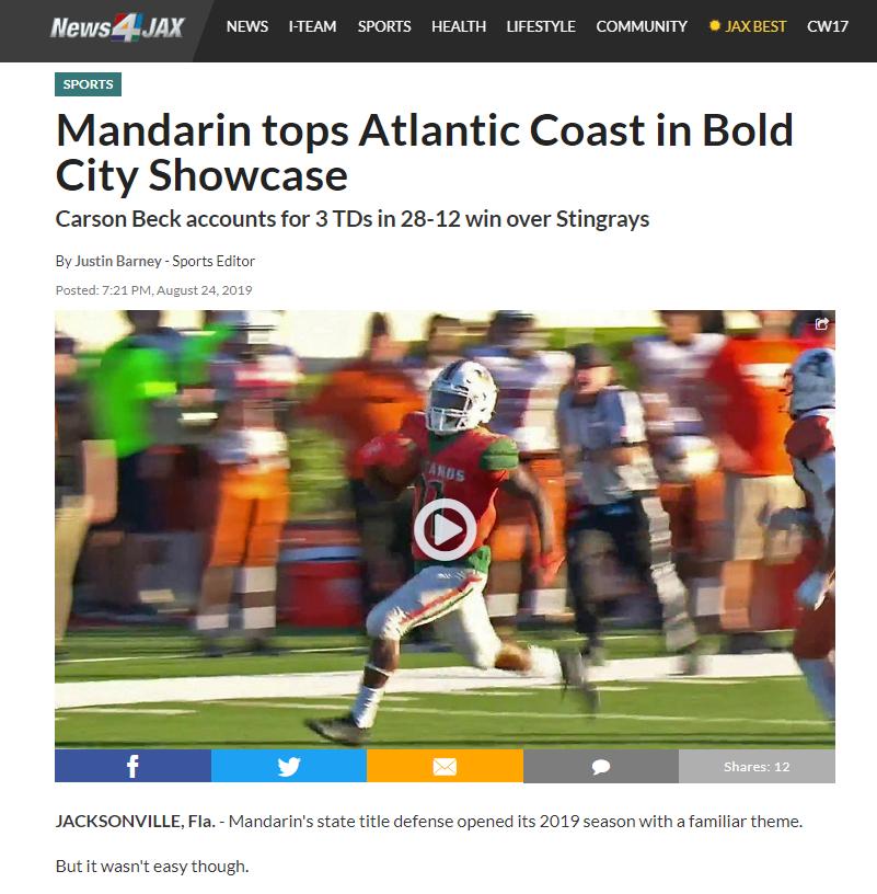 Mandarin tops Atlantic Coast in Bold City Showcase