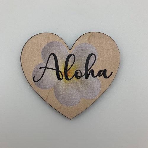 Aloha Plumeria Heart Magnet
