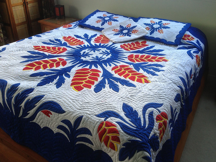 Heliconia Blue Flower Hawaiian Quilt Set King Size