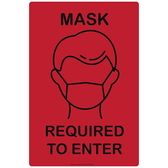 Mask Required Icon Metal Sign 3 Pcs.