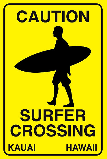 Surfer Crossing Male Metal Sign
