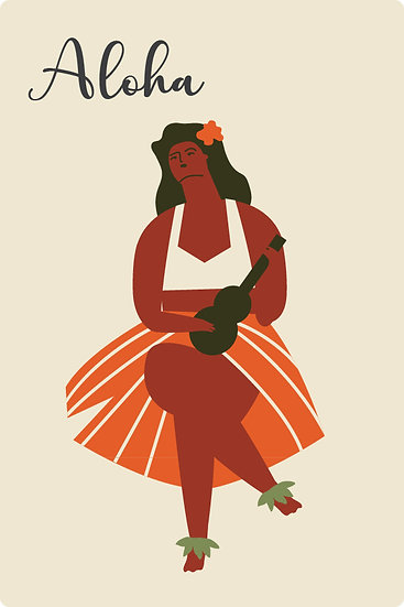 Ukulele Wahine Postcard