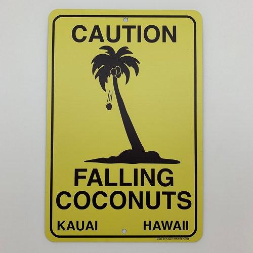 Falling Coconuts Metal Sign 8x12