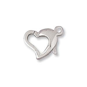 Sterling Silver Clasp Heart 8x14mm
