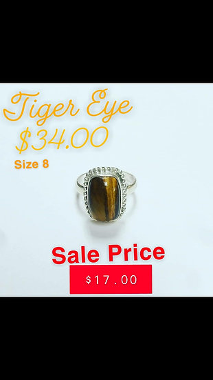 Rounded Rectangle Tiger Eye Ring