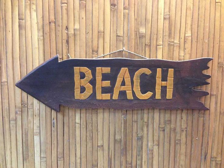 Wood Beach Arrow Sign in Brown