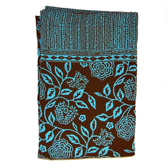 Sarong Towel - Brown/Turquoise Vines