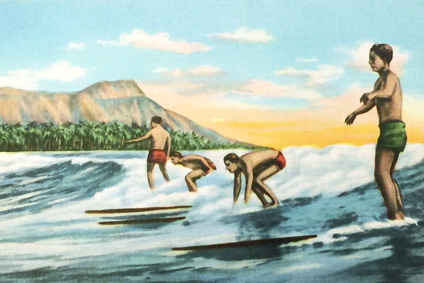 Linen Surfers Postcard