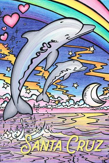CH Rainbow Dolphins CA Postcard