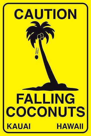 Falling Coconuts Metal Sign
