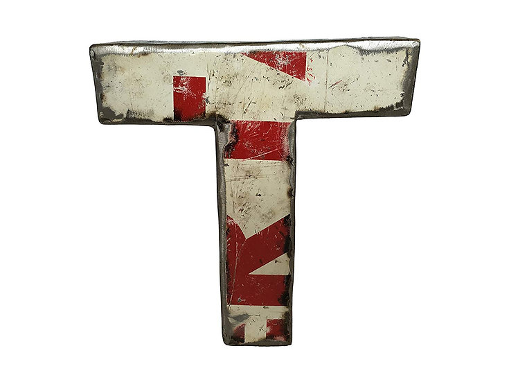 "Recycled Metal Letter ""T"""