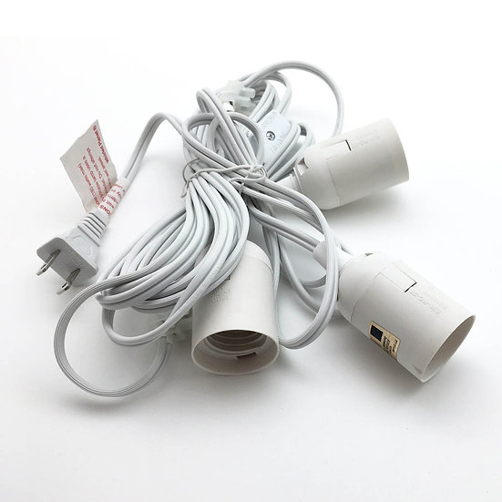 19' White Triple Socket Cord Kit w/ On/Off Switch (UL Listed)