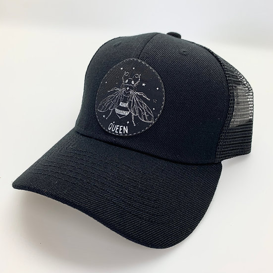 Queen Bee Black Patch Trucker Hat