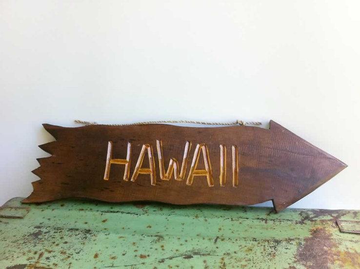 Wood Hawaii Arrow Sign