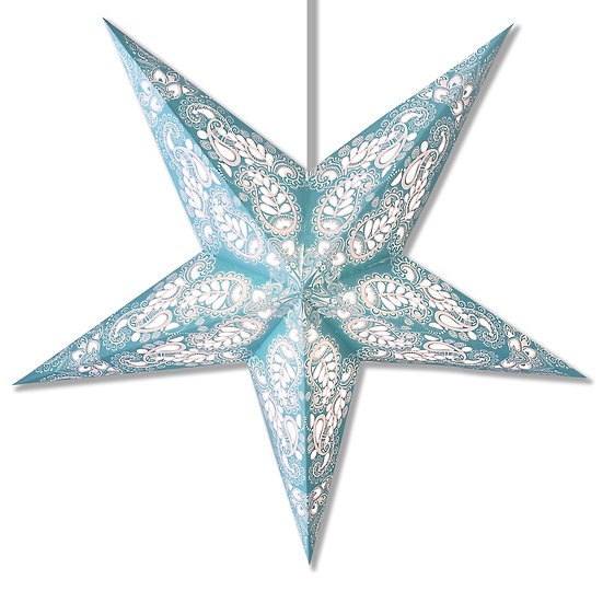 Paisley Space Turquoise Star Lantern