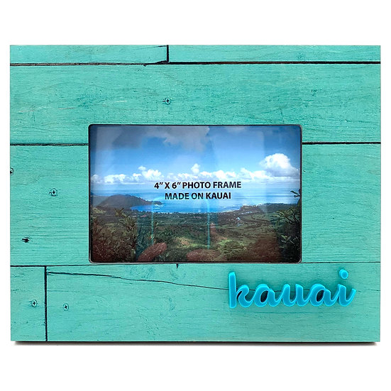 Seafoam Wood Raised Letters Photo Frame
