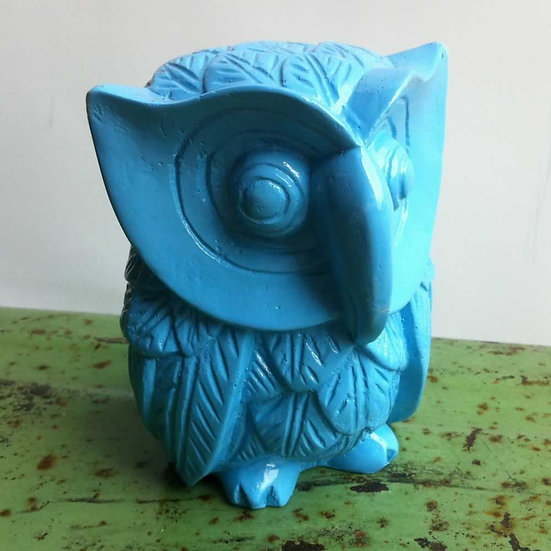 Resin Solid Color Owl in Blue