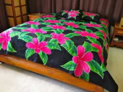 Plumeria Flower King Size Hawaiian Style Quilt