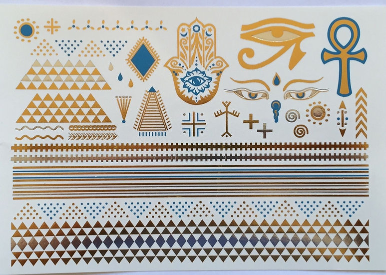 Desert Nights Gold and Turquoise Temporary Tattoos