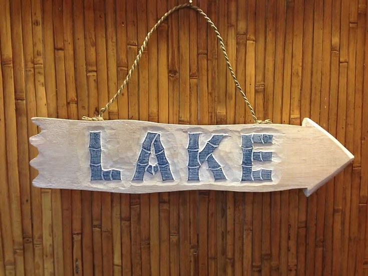 Lake Arrow Sign in White