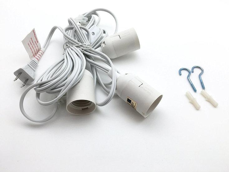 Three Socket Lantern Cord Kit - White