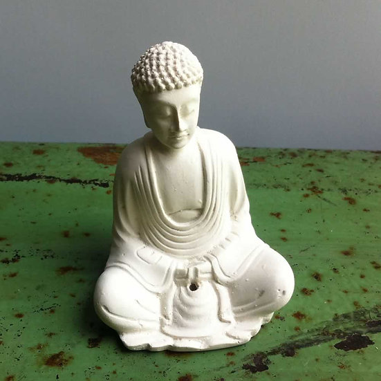 Sitting Buddha Incense Holder in White