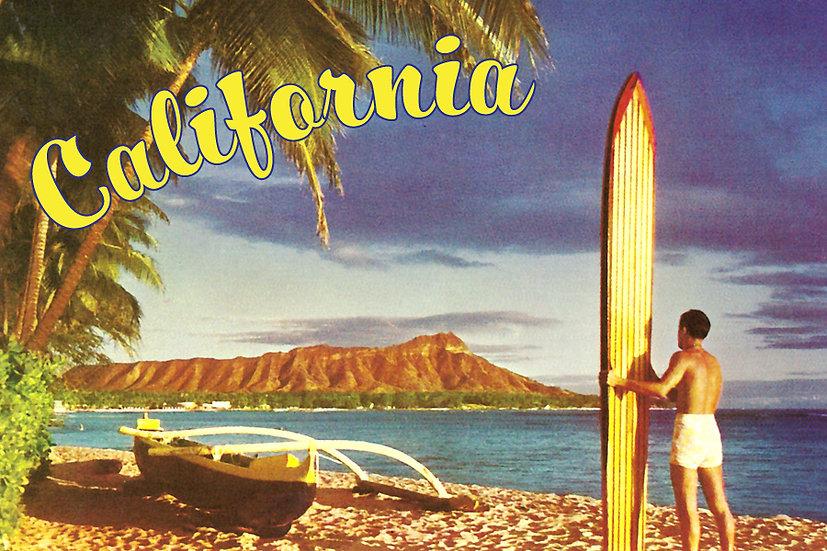 40s CA Surfer Postcard
