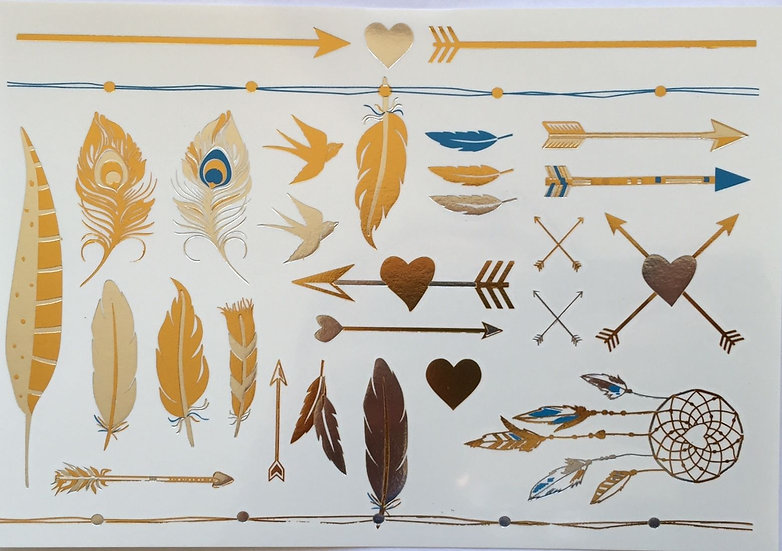 Arrows and Feathers Gold and Turquoise Temporary Tattoos