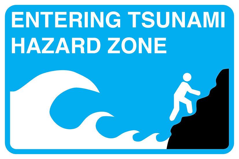 "Tsunami Hazard 8"" x 12"" Metal Sign"