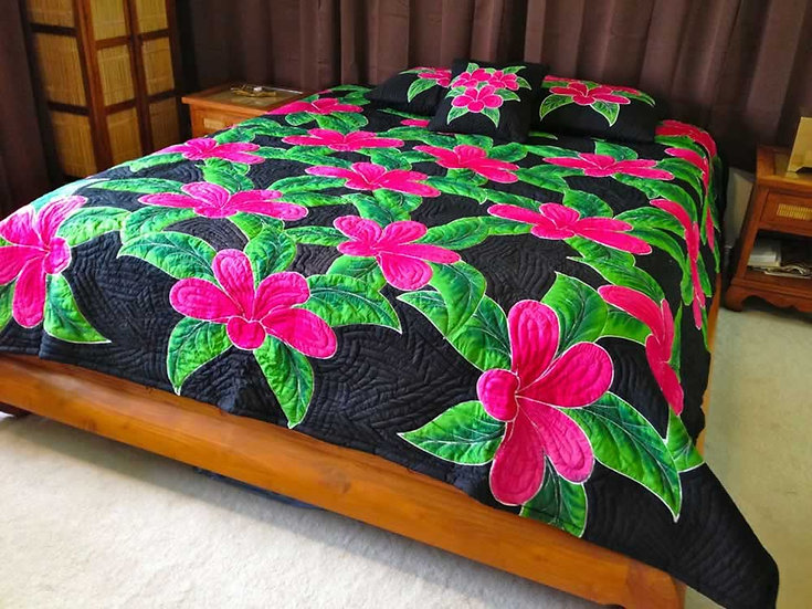 Plumeria Flower Queen Size Hawaiian Style Quilt