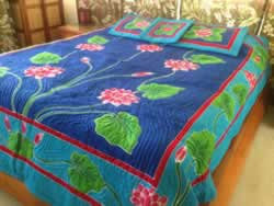 Lotus Flower King Size Hawaiian Style Quilt