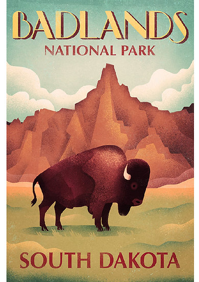 Wickstrom Badlands Bison Postcard