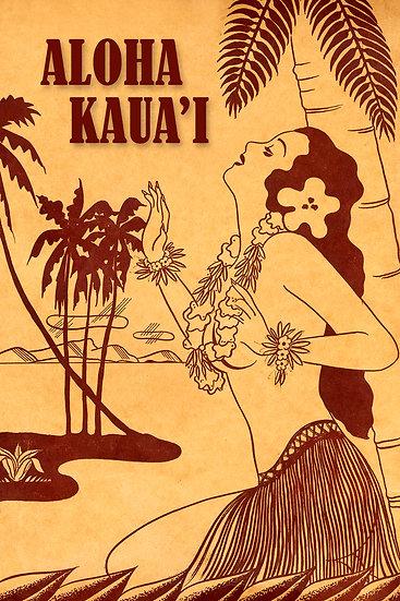 Vintage Hula Sepia Postcard