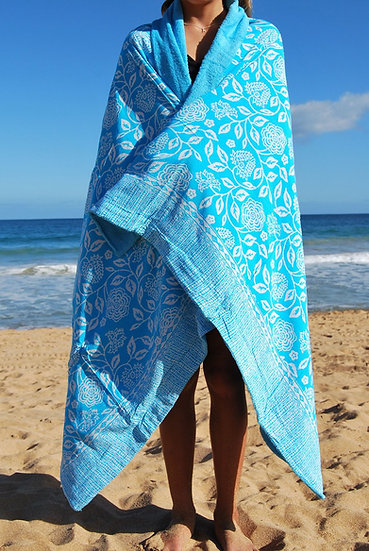 Sarong Towel - Blue/White Floral