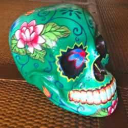 Bright Green Wooden Sugar Skull