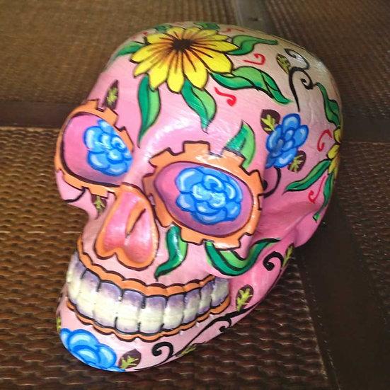 Bright Pink Wooden Sugar Skull