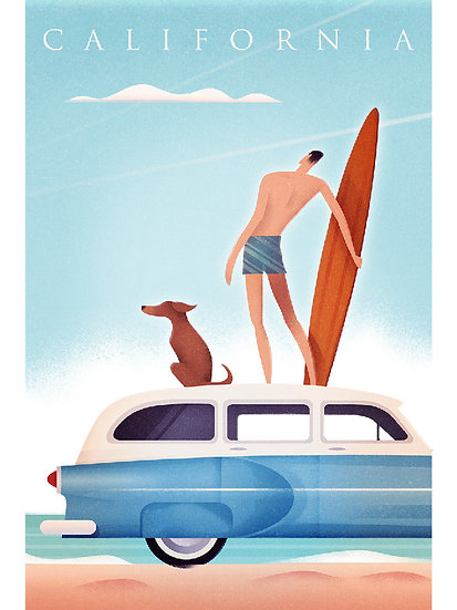 Wickstrom Surfer & Dog Postcard