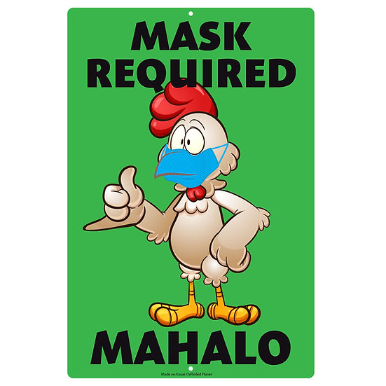 Chicken Mask Metal Sign