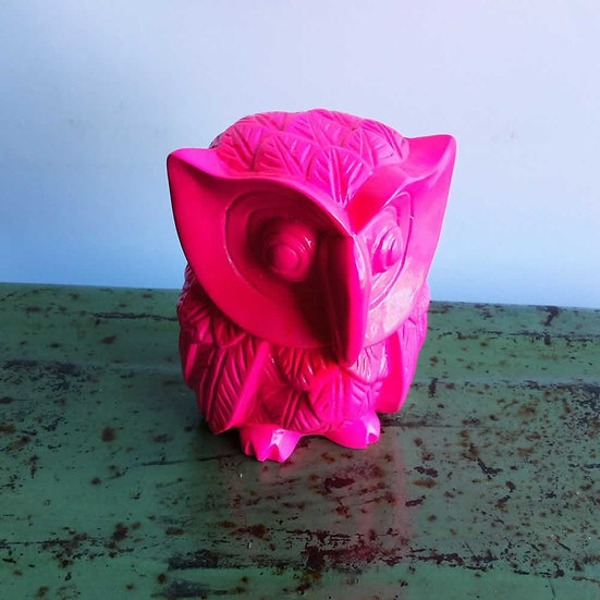 Resin Solid Color Owl in Pink