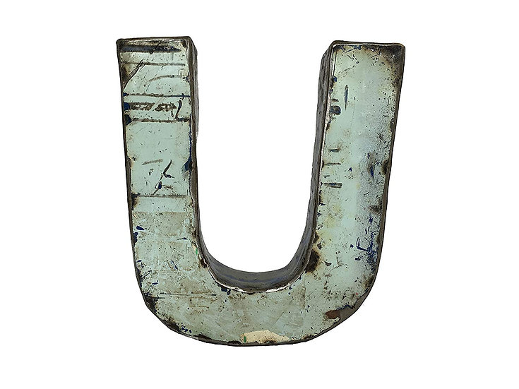 """Recycled Metal Letter """"U"""""""